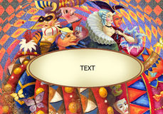 Carnival. Decorative composition with painting of lady in costume of 18 centure Royalty Free Stock Image