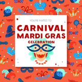 Carnival Decorative Frame Background Poster. Mardi gras carnival celebration decorative colorful square frame invitation background poster with funny clown hats Royalty Free Stock Photos