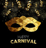 Carnival design with gold mask and party elements Royalty Free Stock Photo