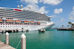 Carnival Docked in Popular Port of Key West Royalty Free Stock Photos
