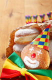 Carnival Donuts Decorated with Hat and Ribbon Stock Photos