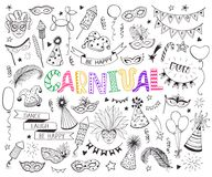 Carnival doodle set. Hand drawn carnival objects set isolated on white background. Masqeurade design elements collection in line art style. Doodle carnival masks Stock Image