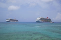 Carnival Dream  and Carnival Glory Cruise Ships anchor at the Port of George Town, Grand Cayman Royalty Free Stock Photography