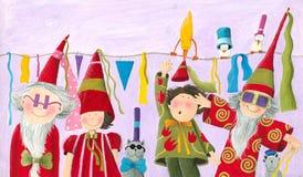 Carnival of Dwarfs. Acrylic illustration of the Carnival of Dwarfs Royalty Free Stock Photo