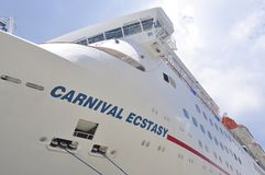 Carnival Ecstasy cruise ship. In Nassau, Bahamas royalty free stock images