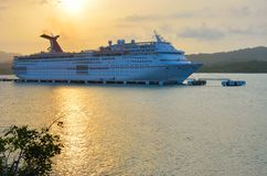 Carnival ecstasy Cruise Ship at sun set. AMBER COVE DOMINICAN REPUBLIC 9 FEBRUARY  2016: Carnival ecstasy Cruise Ship at sun set Stock Photography