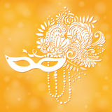 Carnival elements. Mask with feathers and beads, flowers. Royalty Free Stock Photography
