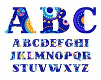 Carnival, English alphabet, vector font, capital letters. Royalty Free Stock Photos