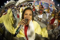 Carnival 2019 - Estacio de Sa. Rio, Brazil - march 02, 2019: Estacio de Sa during the Carnival Samba School Carnival RJ. Singer janeiro parade dancer costume royalty free stock photo