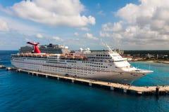 Carnival Fantasy cruise ship docked in Puerta Maya, Cozumel, Mexico. Cozumel, Mexico - JANUARY 12, 2018: Carnival Fantasy cruise ship docks at one of Puerta Maia Stock Photography