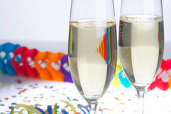 Carnival - Fasching. 2 Glasses of Sparkling Wine on Carnival - 2 Sektfloeten zu Fasching stock image