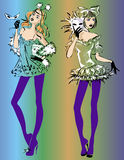 Carnival fashion models, sketch style Stock Images