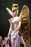 Carnival Fashion Week. CANARY ISLANDS - 28 OCTOBER: Model on the catwalk wearing carnival costume from designer Mari Patron Dominquez during Carnival Fashion Royalty Free Stock Photo
