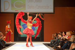 Carnival Fashion Week. CANARY ISLANDS - 29 OCTOBER: Model on the catwalk wearing carnival costume from designer GC DC during Carnival Fashion Week October 29 Stock Images