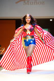 Carnival Fashion Week. CANARY ISLANDS - 29 OCTOBER: Model on the catwalk wearing carnival costume from designer Agustin Munoz during Carnival Fashion Week Royalty Free Stock Image