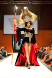 Carnival Fashion Week. CANARY ISLANDS - 29 OCTOBER: Model on the catwalk wearing carnival costume from designer Willie Diaz during Carnival Fashion Week October Stock Photography