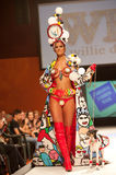 Carnival Fashion Week. CANARY ISLANDS - 29 OCTOBER: Model on the catwalk wearing carnival costume from designer Willie Diaz during Carnival Fashion Week October Royalty Free Stock Image