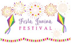 Carnival Festa Junina Summer Festival fireworks. Carnival Brazilian Festa Junina Summer 2019 Festival Festa Junina of São João abstract colorful festive royalty free illustration