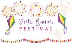 Carnival Festa Junina Summer Festival fireworks. Carnival Brazilian Festa Junina Summer 2018 Festival Festa Junina of São João abstract colorful festive banner Royalty Free Stock Images