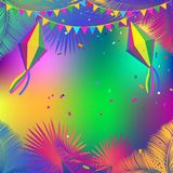 Carnival Festa Junina Summer Festival frame. Frame decoration for Carnival Brazilian Festa Junina Summer 2018 Festival abstract colorful festive banner with Stock Photo