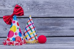 Carnival, festival or Birthday party items. Holiday celebrations background decorated with party supplies. Holiday invitation background royalty free stock images
