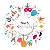 Carnival festival fair set design. Streamer balloons mouth mask feather carnival festival circus fair celebration icon. Colorful design. Vector illustration vector illustration