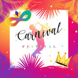 Carnival. Festival, Music, Masquerade Mardi Gras invitation layout design. Vector illustration. Funfair, parade funny flyer, placard, tickets, banners, poster
