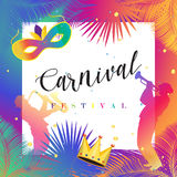Carnival. Festival, Music, Masquerade Mardi Gras invitation layout design. Vector illustration. Funfair, parade funny flyer, placard, tickets, banners, poster Stock Image