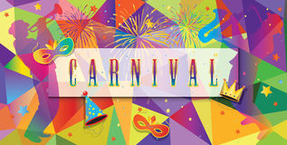 Carnival. Festival, Music Masquerade Mardi Gras invitation layout design. Vector illustration. Funfair, parade funny flyer placard tickets banners and poster Royalty Free Stock Image