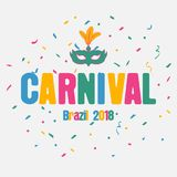 Carnival festive background with carnaval mask and color confetti. Brazil holiday banner. Vector. Carnival festive background with carnaval mask and color Stock Image