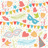 Carnival Festive background. With Masks, Heart Shapes, Ribbons, COnfetti, Hats, Feathers, Stars and more Royalty Free Stock Images