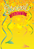 Carnival Festive background. Poster with ribbons and confetti. Hand Lettered Text Royalty Free Stock Photography