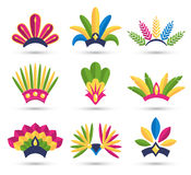 Carnival Festive Headdress Hat Icons Isolated on White Stock Photos