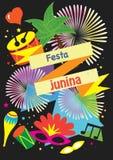 Carnival festive poster  - Illustration vector flat cartoon of Festa Junina or June festival is tradition festival of Brazil o. Carnival festive banner Stock Image