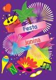 Banner  - Illustration vector flat cartoon of Festa Junina or June festival is tradition festival of Brazil o. Carnival festive poster- Illustration vector flat Royalty Free Stock Photos