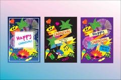 Carnival festive posters vector set. Bright confetti fireworks, masquerade symbols, Festival abstract colorful backgrou. Carnival festive posters vector set Stock Photo
