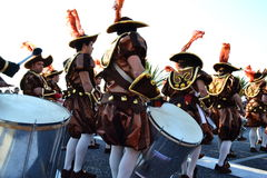 Carnival of Figueira da Foz conquerors drums. Carnival parade in Figueira da Foz, Portugal, 19 February 2012 Stock Image