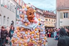 Carnival figure with costume of balls. royalty free stock photo