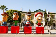 Carnival figures. Limassol, Cyprus - February16, 2016 - Politicians figures standing at the administrative centre of city during the carnival period stock image