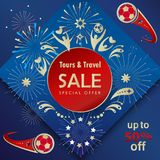 2018 Soccer World Cup RUSSIA FOOTBALL Sale. 2018 Soccer World Cup Competition RUSSIA FOOTBALL Sale banner, gift card with soccer fan people, fireworks Stock Photo