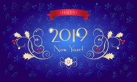 2019 Fireworks festival Christmas. Carnival 2019 Fireworks festival pattern with decorative elements, stars, ball, abstract holiday shiny starburst background Stock Image