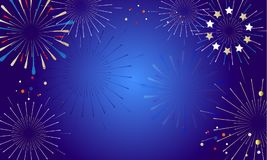 2019 Fireworks festival Fan Soccer. Carnival 2019 Fireworks festival Fan Soccer, patriotic, pattern with decorative elements, stars, ball, abstract holiday shiny Stock Images
