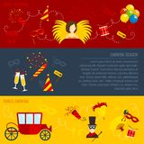Carnival flat banners set Stock Images