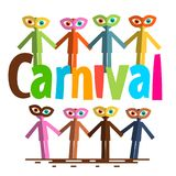 Carnival Flat Design Vector. People on Party. Carnival Flat Design Vector. Paper Cut People on Party Royalty Free Stock Photography