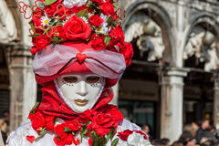 Carnival floral Mask in St Mark's square, Venice Stock Photography