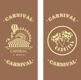 Carnival flyer on a wooden background Royalty Free Stock Photo