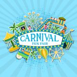 Carnival Fun Fair celebration background with sticker style tent house, ferris wheel, carousels. Carnival Fun Fair celebration background with sticker style stock illustration