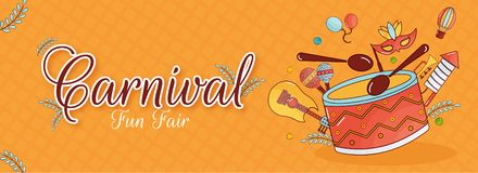 Carnival fun fair header or banner design with musical instruments and other elements. Carnival fun fair header or banner design with musical instruments and vector illustration