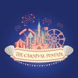 Amusement park banner. Carnival funfair amusement park banner. Vector illustration Stock Images