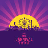 The carnival funfair. And amusement with sunset/sunbeams background. vector illustration Stock Photography